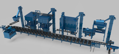 Green sand production line with molding line